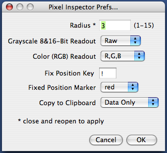 Pixel Inspector Preferences